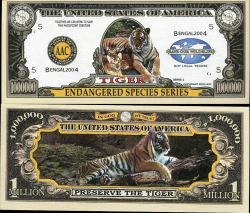 UNITED STATES 1 MILLION USA DOLLAR BILL ENDANGERED TIGER BENGAL