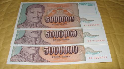 Yugoslavia 5000000 Dinara 1993 3 pcs banknote