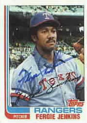 Fergie Jenkins autographed Texas Rangers 1982 Topps card