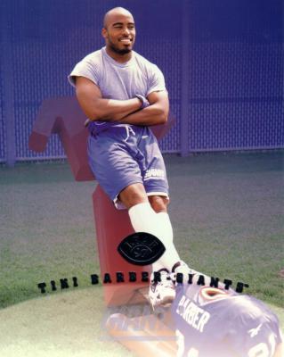 Tiki Barber Giants 1997 Leaf 8x10 photo card