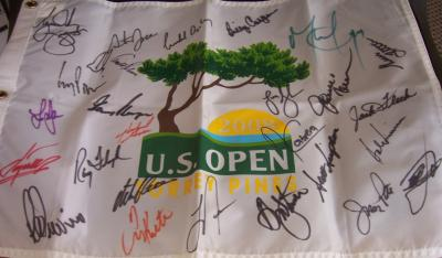 2008 US Open golf flag autographed by 28 winners (Tiger Woods Arnold Palmer Gary Player Lee Trevino)
