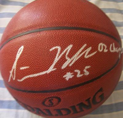 Steve Blake (Maryland) autographed Spalding basketball inscribed 02 Champs