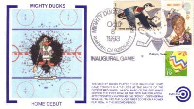 1993 Anaheim Mighty Ducks Inaugural Game cachet envelope