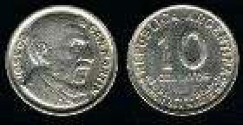 10 Centavos; Year: 1950; (km 44); Copper-Nickel; BUSTO DE SAN MARTIN ANCIANO 100 AÑOS NACIMIENTO