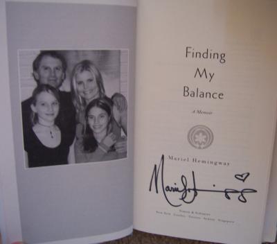 Mariel Hemingway autographed Finding My Balance book