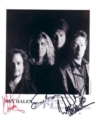 Van Halen autographed 8x10 photo (Michael Anthony Sammy Hagar Alex Van Halen Eddie Van Halen)