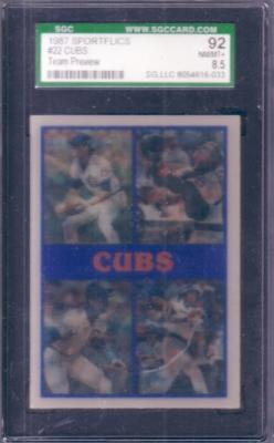 Greg Maddux Rafael Palmeiro 1987 Sportflics Chicago Cubs Preview graded SGC 92