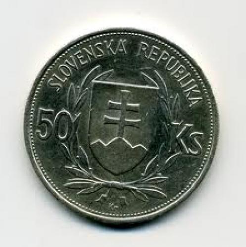 Coins; 50_Slovak Koruna Year:1944; back