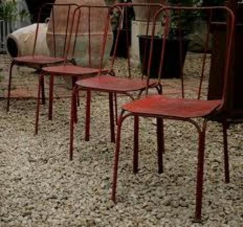 Antique; Set of 4 iron garden chairs, 1940's