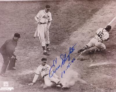 Enos Slaughter autographed St. Louis Cardinals 1946 World Series Mad Dash 8x10 photo (dated)