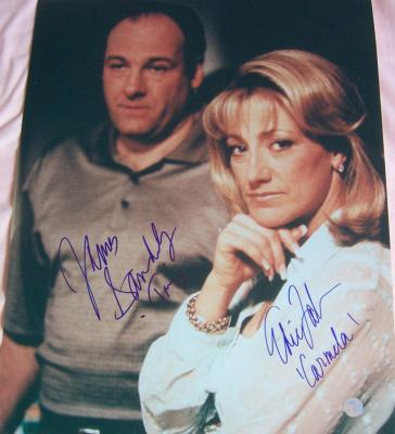 James Gandolfini & Edie Falco autographed Sopranos 16x20 poster size photo