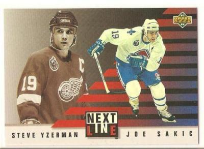 Joe Sakic & Steve Yzerman 1993-94 Upper Deck Next In Line insert card #NL3