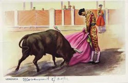 Spain; Vintage postcard depicting a traditional Spanish bullfight