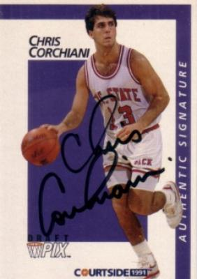 Chris Corchiani certified autograph North Carolina State 1991 Courtside card