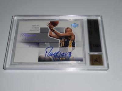 Reggie Miller certified autograph Indiana Pacers 2003-04 Upper Deck card BGS 9