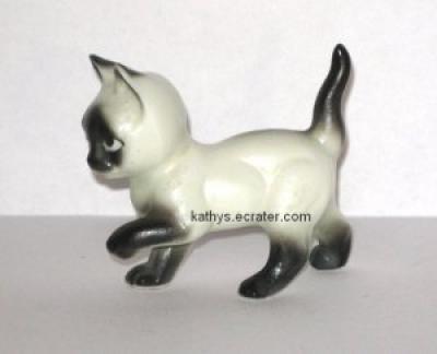 Bone China Siamese Cat Black and White Animal Figurine