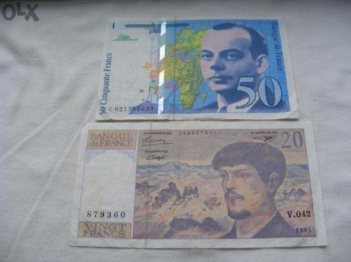 France 20 and 50 Franca 1993/4  2 pcs. bills