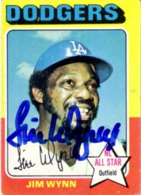 Jim Wynn autographed Los Angeles Dodgers 1975 Topps card
