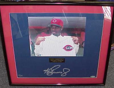 Ken Griffey Jr. autographed Cincinnati Reds photo matted & framed ltd. edit. 124 (UDA)