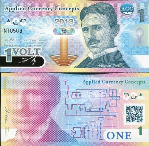 NIKOLA TESLA 1 VOLT APPLICED CURRENCY CONCEPTS (ACC) 2013 POLYMER UNC
