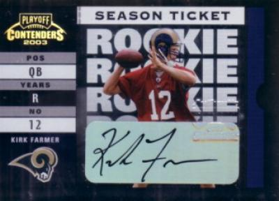Kirk Farmer certified autograph 2003 Playoff Contenders card