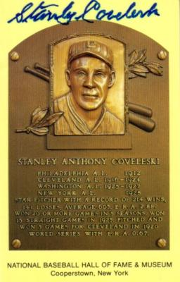 Stanley Coveleski autographed Baseball Hall of Fame plaque postcard