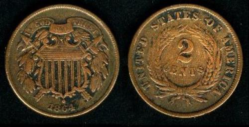2 cents; Year: 1864-1872