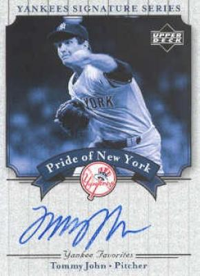 Tommy John certified autograph New York Yankees Upper Deck card