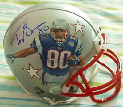 Troy Brown autographed New England Patriots mini helmet painted by Jolene Jessie (1/1)