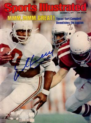 Earl Campbell autographed Texas Longhorns 1977 Sports Illustrated (Mounted Memories)
