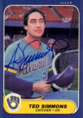 Ted Simmons autographed Milwaukee Brewers 1986 Fleer card