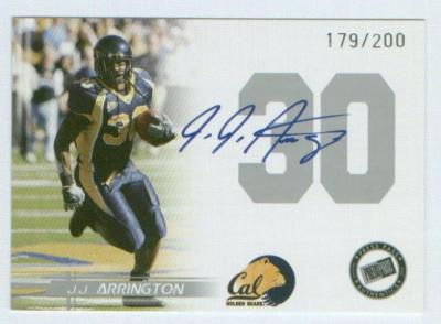 J.J. Arrington Cal Bears certified autograph 2005 Press Pass card #179/200