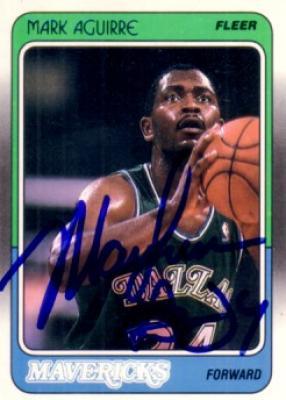 Mark Aguirre autographed Dallas Mavericks 1988-89 Fleer card
