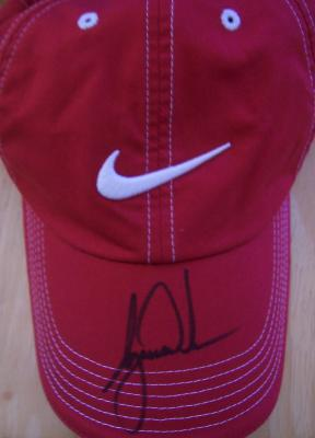 Tiger Woods autographed red Nike golf cap or hat