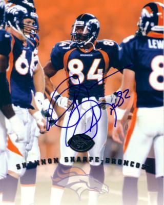 Shannon Sharpe autographed Denver Broncos 1997 Leaf 8x10 photo card