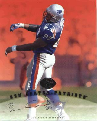 Ben Coates certified autograph Patriots 1997 Leaf 8x10 photo card