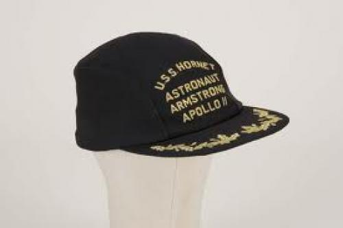 Memorabilia; Neil Armstrong baseball cap worn after splash-down and recovery from Apollo