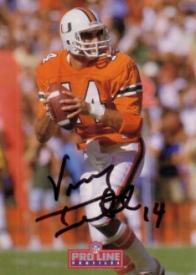 Vinny Testaverde autographed Miami Hurricanes card
