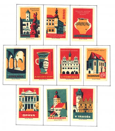 10 Matchbox labels Muzeums