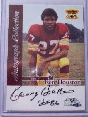 Ken Houston certified autograph Washington Redskins 1999 Fleer card