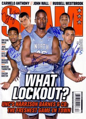 2011-12 North Carolina autographed Slam Magazine (Harrison Barnes John Henson Tyler Zeller)