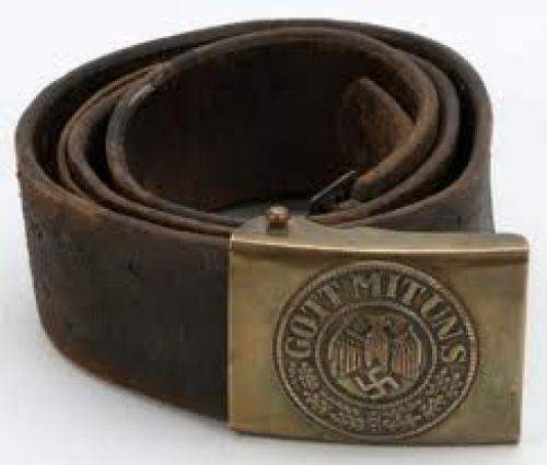 Militaria; An Original WWII Nazi Belt and Kriegsmarine Brass Buckle