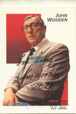 John Wooden autographed UCLA Courtside card (For Andy)