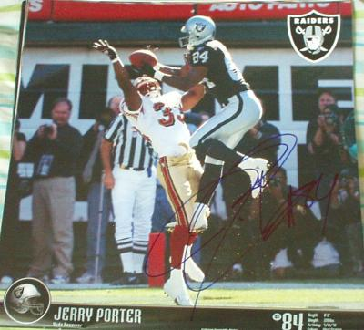 Jerry Porter autographed Oakland Raiders calendar page