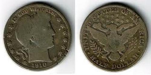 Coin; USA: 1/2 Dollar 1910