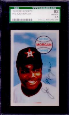 Joe Morgan 1970 Kellogg's #72 graded SGC 92 (NrMt-Mt+) PSA 8.5