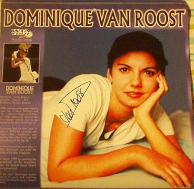 Dominique Van Roost autographed WTA tennis calendar page
