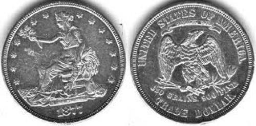 Coins; 1877-US-Trade dollar-The only US coin to have it's legal tender status