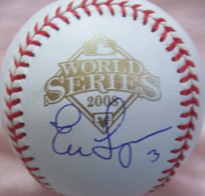 Evan Longoria autographed 2008 World Series baseball