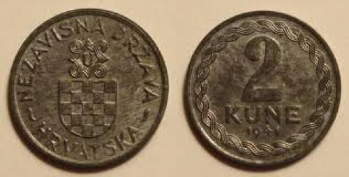 Coins; 2 Kune coin dated 1941 from Croatia